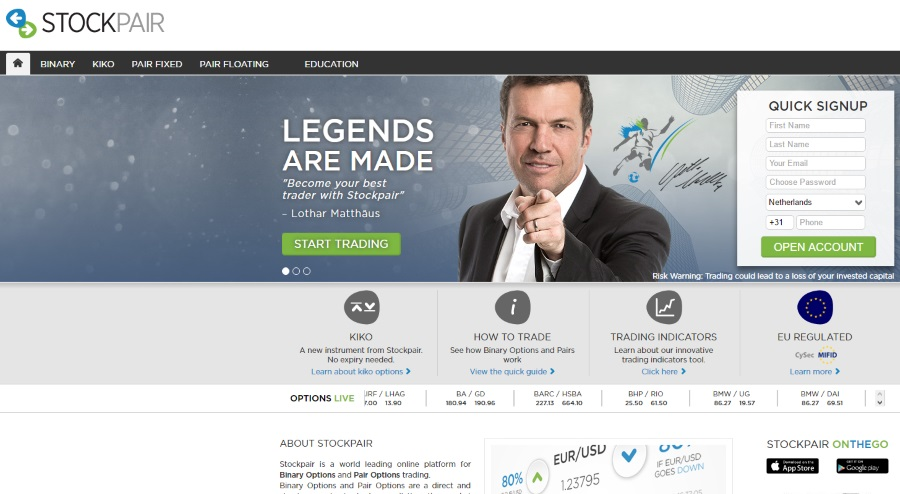 Stockpair binary options review